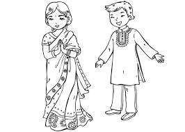 Small Picture Coloring page Indian children