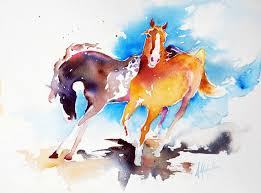 wild watercolor horses
