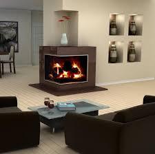 Modern interior design showcasing a corner fireplace