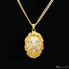 whole hip hop big lion head pendant necklace animal king vintage gold color hiphop diamond chain for men women jewelry gift heart shaped pendant