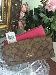 Coach Wallet Signature Pop Slim Envelope Wallet Khaki Dahlia F52601 New W4    eBay