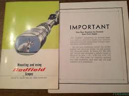 Details About C1970s Original Mounting Using Redfield Scopes Manual Foldout Sight Chart