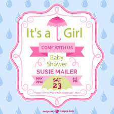 Baby Shower Girl Card Template Design Vector  Free DownloadBaby Shower Cards To Print