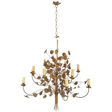 large 1940s french gold trailing flower and leaf ornate metalwork chandelier for