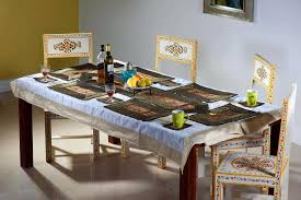 zari border silk dining table runner plate mat coasters set from india rajasthan jodhpur