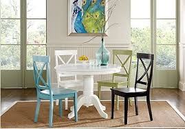 picture of brynwood white 5 pc pedestal dining set with white chairs from dining room sets furniture