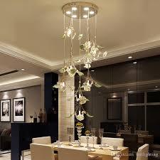 crystal pendant light ceramic living room lamp simple modern restaurant spiral pendant lights bedroom creative circular lamp mall chandelier crystal pendant