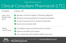 Pharmacist Consultant Hiring A Clinical Consultant Pharmacist Ltc Full Time In Calgary