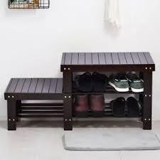 Image Bamboo Image Is Loading 2tierblackshoebenchentrywayshoestorage Ebay Tier Black Shoe Bench Entryway Shoe Storage Bench Seat Wood