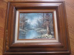 art windowpub com vtg artistic interiors winter forest canvas oil painting wood frame signed
