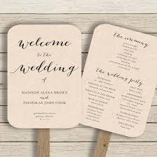 wedding program fan template printable rustic editable by you in word diy paddle fans wedding program fan