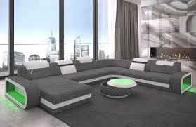 Details About Wohnlandschaft Sofa Couch Berlin Xxl Chesterfield Stoff Ottomane Led Beleuchtung
