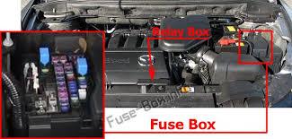 mazda cx 9 2006 2015 < fuse box diagram the location of the fuses in the engine compartment mazda cx 9 2007