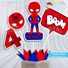 Personalized Superheroes Spiderman Centerpieces Superhero Centerpiece Superheroes