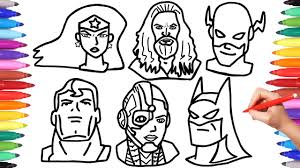 Coloring pages in other leanguages: Justice League Coloring Pages How To Draw Batman Superman Aquaman Flash Faces Mask Superheroes Youtube