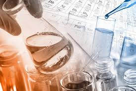 Laboratory glassware, test tubes and flasks in laboratory with ...