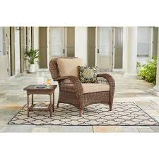 hampton bay beacon park stationary wicker outdoor lounge chair toffee cushions
