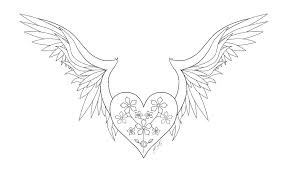 Coloring Pages Of Hearts With Wings Hearts With Wings Coloring Pages