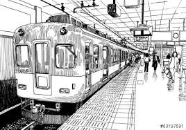 subway train drawing. Beautiful Train Japan Metro Train Station Platform In Osaka Drawing Ink Sketch S And Subway Train Drawing