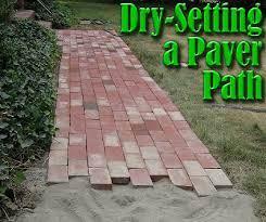 dry setting a paver path