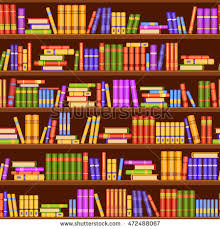 seamless vector pattern with many books on bookshelves home library ilration in a
