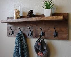 Rustic coat rack, wall hanger with 6 railroad spike hooks, 30 x 8 barnwood  towel rack