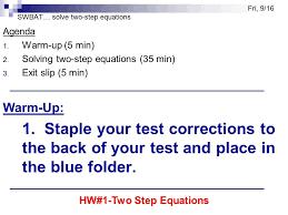 swbat solve two step equations agenda 1 warm up 5 min