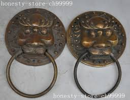 <b>christmas old chinese bronze</b> copper Evil Guardian Fu Foo Dog ...
