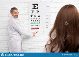 Dr Office Eye Chart Ophtalmologist Pointing At Test Eye Chart Stock Photo