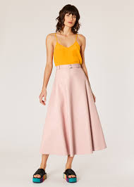 model front view women s light pink leather midi skirt with belt paul smith