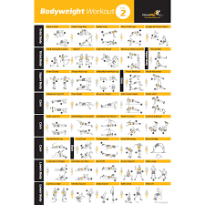 Total Body Gym Workout Chart Buy Bodyweight Exercise Poster Home Gym Fitness Workouts