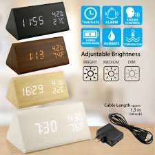 wooden alarm clock wood led digital desk clock upgraded with time temperature adjustable