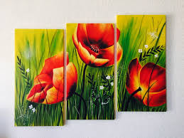 red poppies fl acrylic painting 3 piece