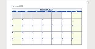 template calendar word blank template november 2019 calendar word 2019 calendar