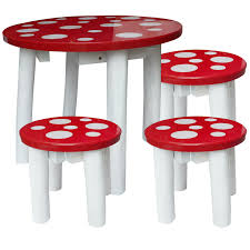 Q Toys red with white spot mushroom fairy design toadstool table and three  matching chair excellent