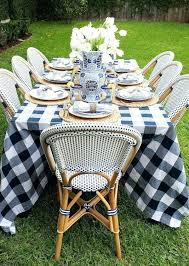 outdoor table cloth french bistro chairs buffo check tablecloth make for a beautiful blue and white outdoor table cloth