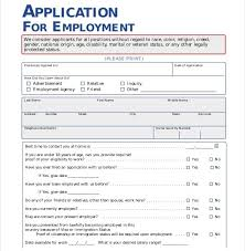 Generic Employment Application Form Free Employment Applications Ukran Agdiffusion Throughout