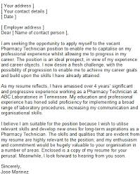 Pharmacy Technician S Letter Pharmacy Cover Letter Example 2015 With