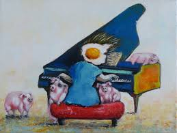 egg boy playing the piano painting 40x30x2 cm 2018 by ta expressionism