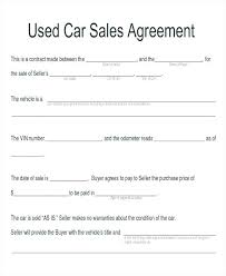 Sale Of Car Contract Used Car Sale Agreement Template South Africa Private Car E