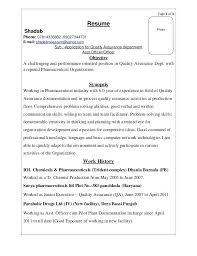 Sample Resume For Pharmaceutical Industry Sample Resume Production