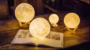 3d moon shaped night light lamp vibration tap control led bedside table lamp rechargeable battery operated