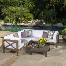 Wood outdoor sectional Couch Noble House Brava Gray 4piece Wood Outdoor Sectional Set With White Cushions Home Depot Noble House Brava Gray 4piece Wood Outdoor Sectional Set With White