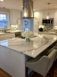 White Kitchen White Countertops Light Grey Granite Countertop Connected By Stainless Steel Faucet