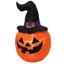 inflatable outdoor pumpkin with witch hat