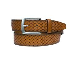 mens woven tan leather belt by alberto free today