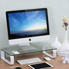 fitueyes glass monitor stand computer laptop tv screen riser clear dt106004gw