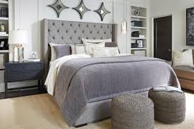 Bedroom: Modern Upholstered Headboards With Decorative Blue Bed Cover Over  Black Area Rugs Modern Black Bedside Table With Storage And Glass Table  Lamp With ...