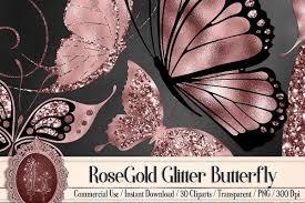 Rose Gold Glitter Butterfly Background ...