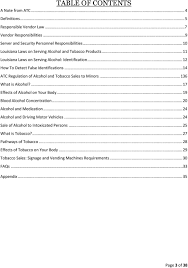 12 how to detect false identifications 14 atc regulation of alcohol and s